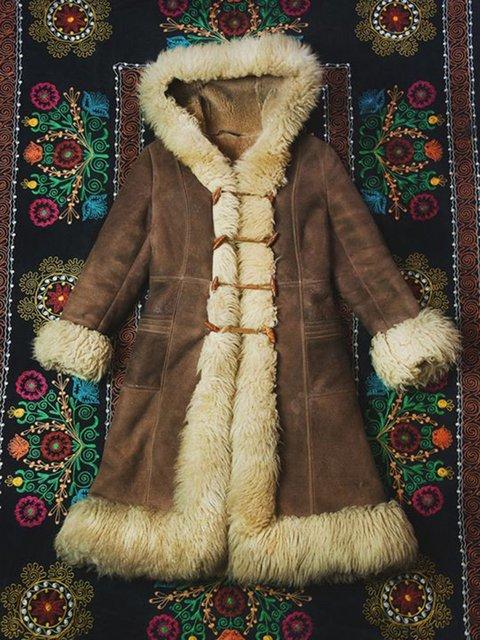 Brown Faux Suede Casual Plain Outerwear