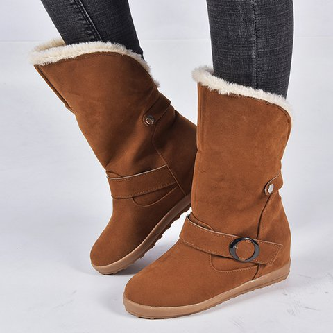 Women Round Toe Slide Snow Boots Casual Artificial Nubuck Shoes