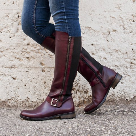 Womens Pu Low Heel  Casual Boots Plus Size Shoes