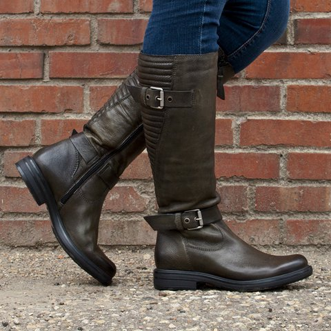 Women Plus Size Work Boots PU Leather Low Heel Comfy Boots