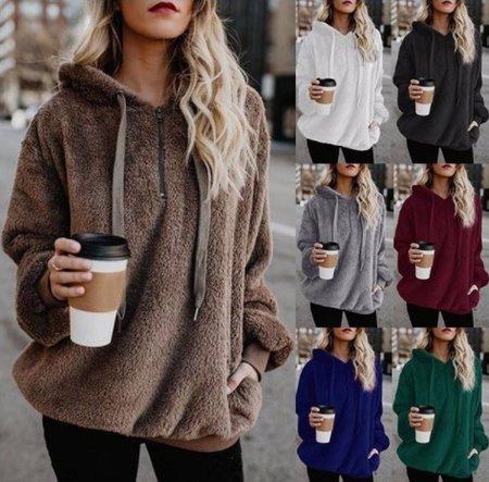 Autumn Winter Fleece Long-sleeved Solid Color Hoodies And Sweatshirts