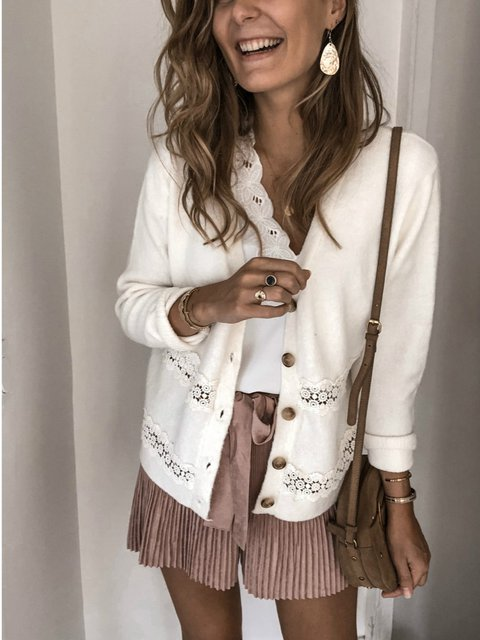 White V Neck Casual Outerwear