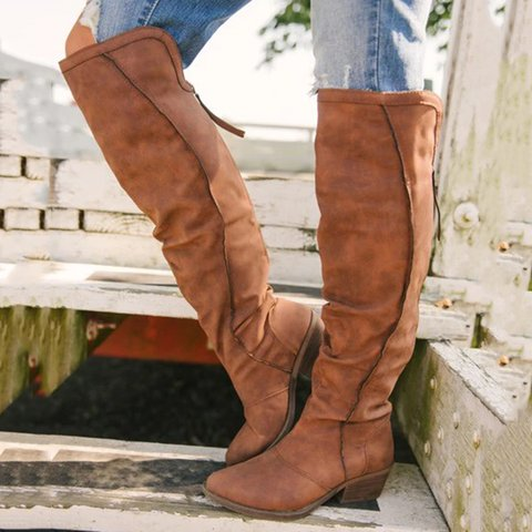 Plus Size Artificial Leather Round Toe Zipper High Boots