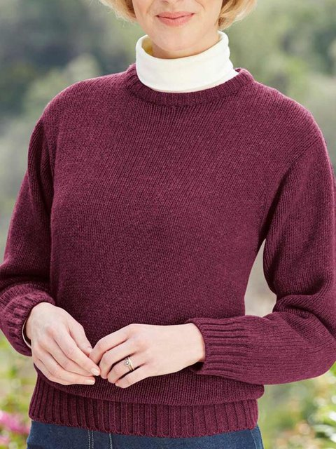 Casual Crew Neck Long Sleeve Solid Sweater
