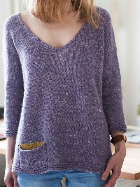 Solid Pockets Casual Knitted Sweater