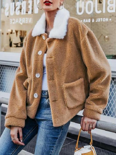 Light Brown Shawl Collar Long Sleeve Buttoned plus size Outerwear