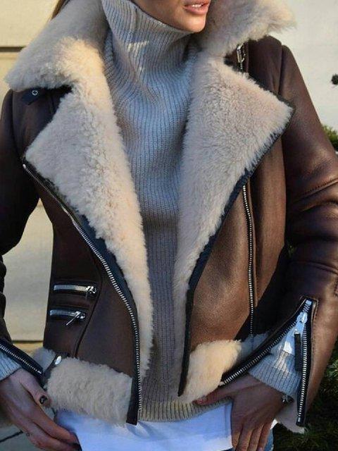 Brown Casual Pockets Lapel Faux Fur Outerwear