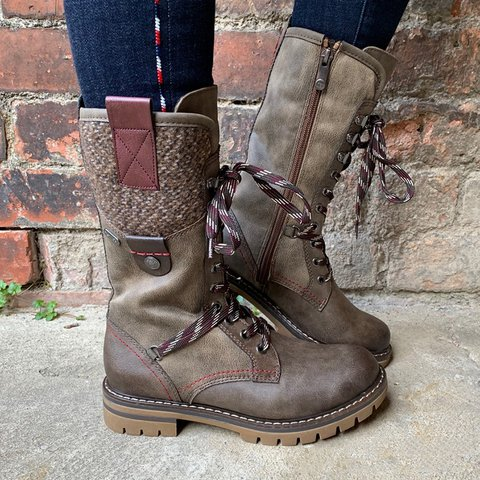 Comfy Plus Size Winter Low Heel Mid-Calf Boots