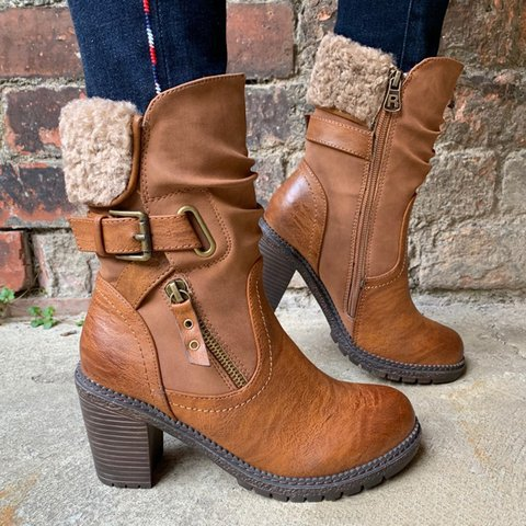 Buckle Strap Mid-Calf Heeled Boots Plus Size Warm Shoes