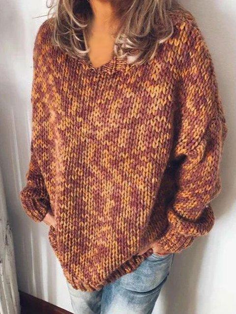 Brown Long Sleeve V Neck Shirts & Tops
