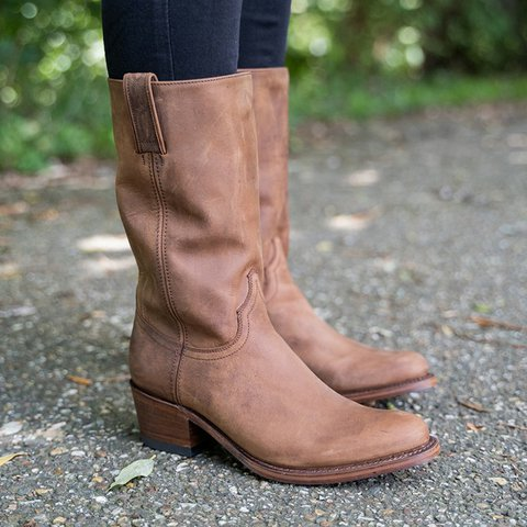 Women's Vintage Cowboy Boots Chunky Heel Western Boots