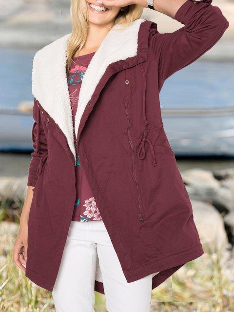 Long Sleeve Cotton-Blend Shawl Collar Outerwear