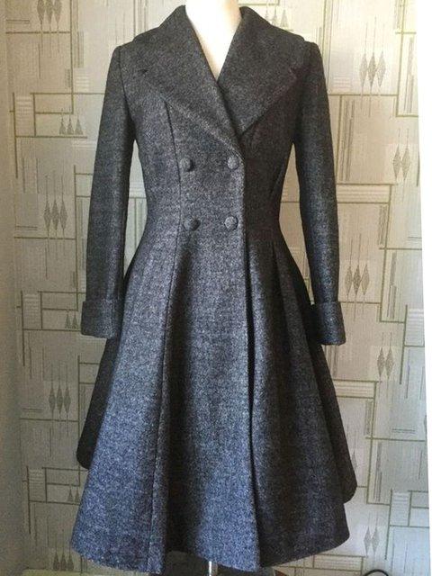 Deep Gray Cotton-Blend Long Sleeve Buttoned Outerwear