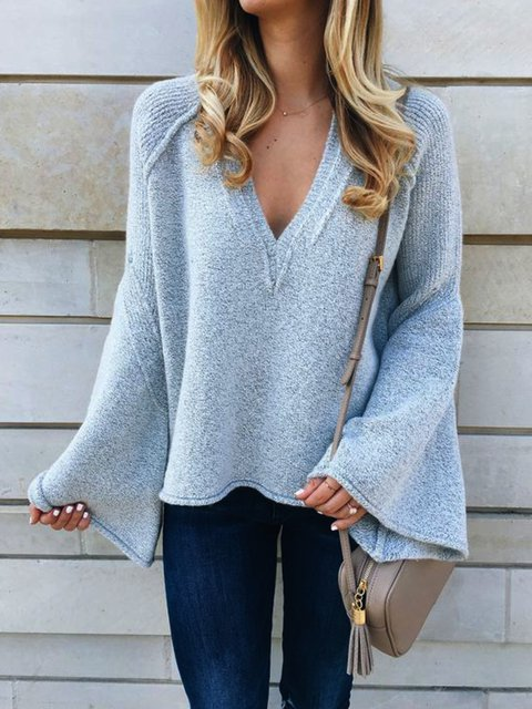 Casual Plus Size V Neck Frill Sleeve Sweater
