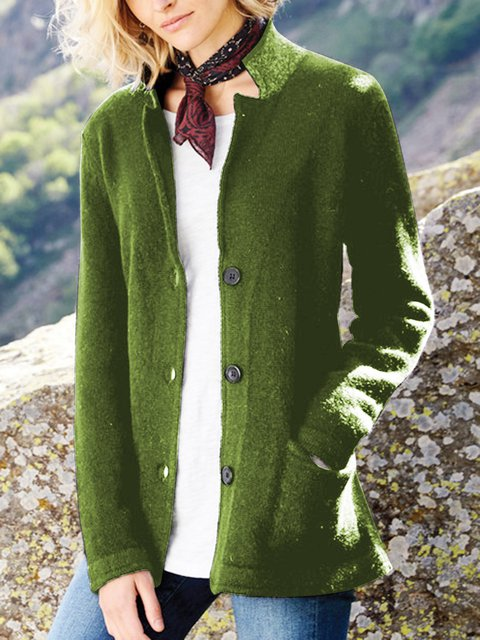 Solid Pockets Sweater Cardigan Plus Size Knit Stand Collar Coat