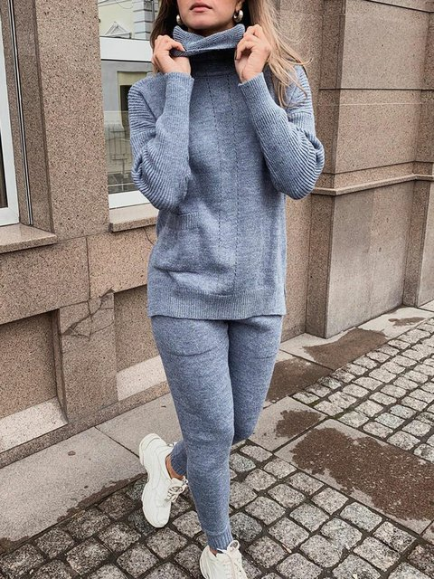 Women Pockets Turtleneck Casual Knitted Suits