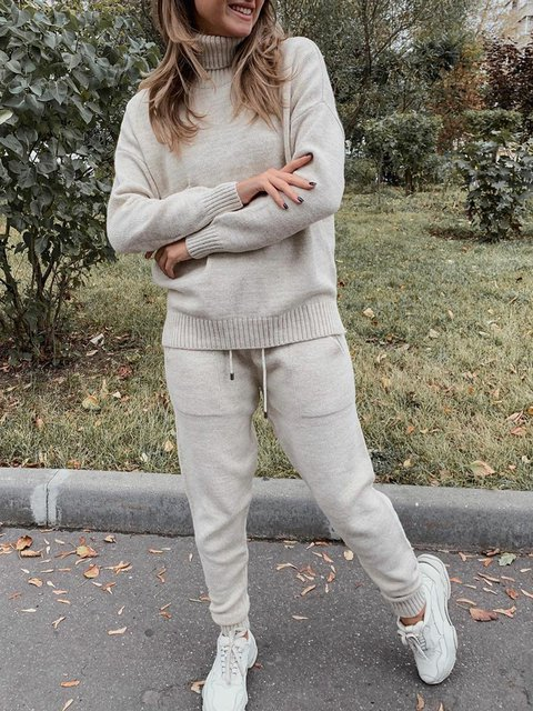 Women Pockets Drawstring Turtleneck Casual Knitted Suits
