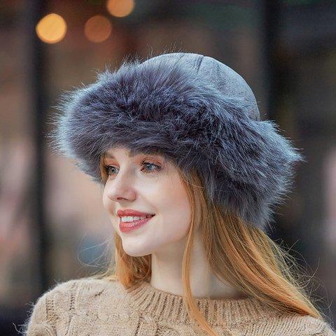 Casual Solid Faux Fur Warm Women Hats