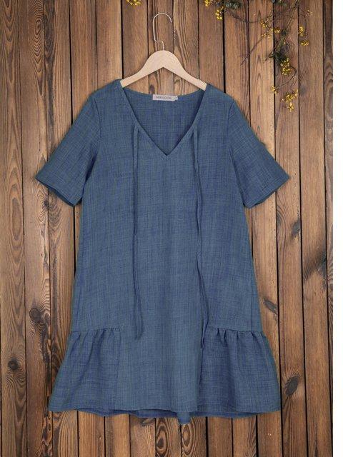 V Neck Women Dresses Holiday Cotton Solid Dresses