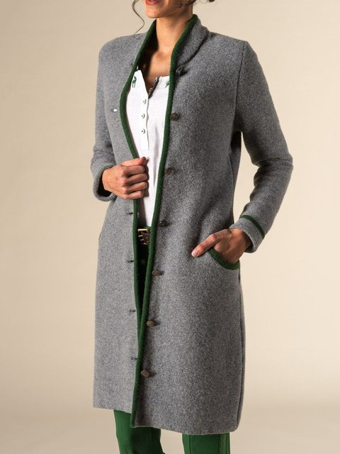 Solid Vintage Pockets Coat Plus Size Stand Collar Outerwear