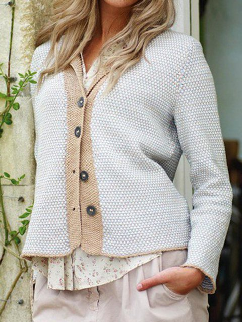 Solid Knit Cardigan Plus Size V Neck Sweater