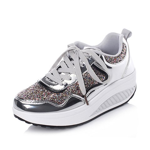 Womens All Season Lace-Up Low Heel Daily Sneakers