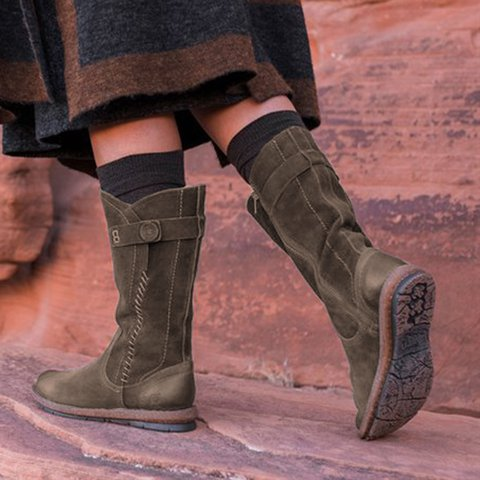 Suede Botton Womens Comfy Mid Calf Boots