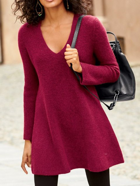 Solid Sweater Knit Tunic Plus Size V Neck Tops