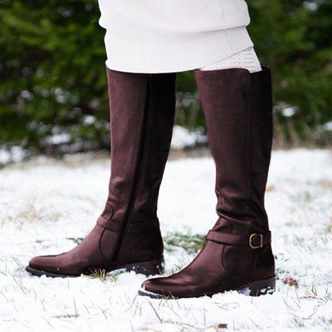 Fall Zipper Chunky Heel Knee-High Boots