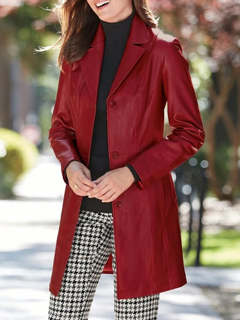Red Lapel Casual Outerwear