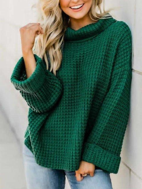 Plus Size Vintage Long Sleeve Plain Casual Sweater