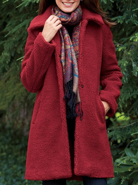 Burgundy Long Sleeve Paneled Plain Cotton-Blend Coats
