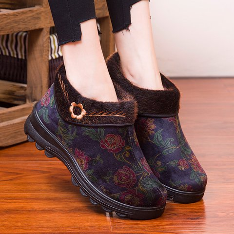 Women Winter Slip-On Old Peking Snow Boots Warm Shoes