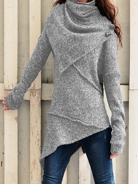 Grey Asymmetrical Casual plus size Outerwear