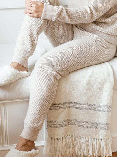 Women Elastic Waist Solid Casual Sweater Pants