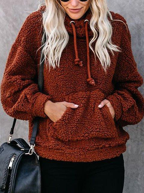 Women Pocket Drawstring Hoodie Teddy Sweatshirt