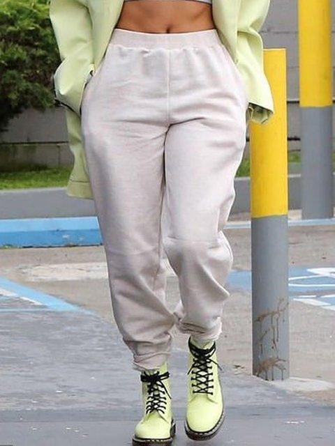 Women Pockets Casual Solid Sweatpants