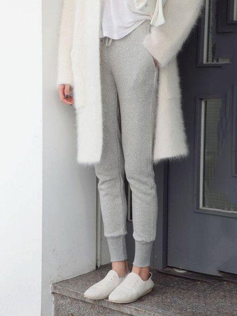 Women Pockets Solid Casual Sweatpants