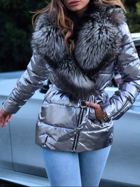 Casual Faux Fur Long Sleeve Solid Outerwear