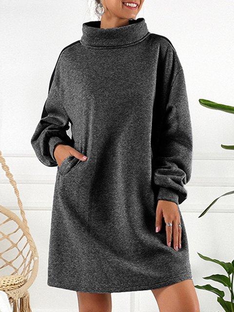 Shift Paneled Turtleneck Long Sleeve Sweatshirt