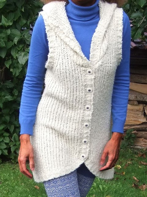 Sleeveless Hoodie Sweater Plus Size Knitted Vest