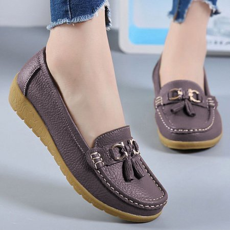 Metal Tassel Soft Leather Flat Loafers