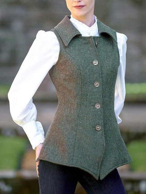 Green Tweed Sleeveless Vintage Outerwear