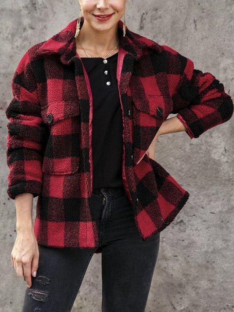 Holiday Shawl Collar Plaid Outerwear