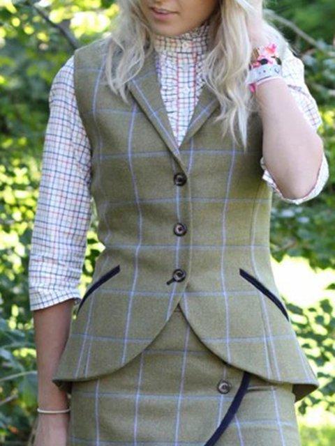 Khaki Sleeveless Wool Blend Lapel Paneled Vests