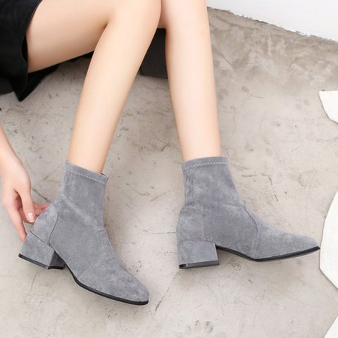 Women Round Toe Chunky Heel Ankle Boots Casual Artificial Suede Shoes
