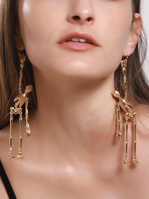 Women Halloween  Human Skeleton Alloy Drop Earrings