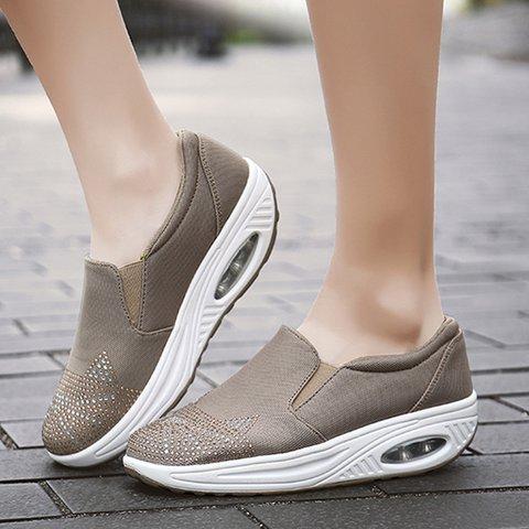 Women Casual Creepers Rhinestone Heel All Season Cloth Sneakers