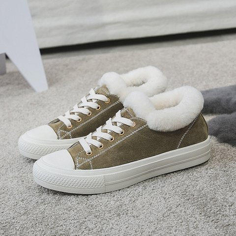 Plus Size Snow Boots Flat Heel Lace-Up Fur Lined Sneakers
