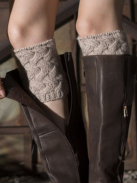 Women Knitted Weave Casual Boot Cuff